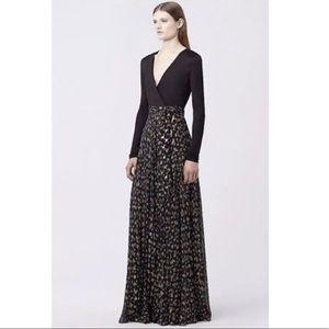 Diane Von Furstenberg Metallic Maxi Wrap Dress